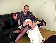 Nurse in shame bent over the couch with her ripe ass in the air - full force caning