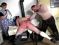 Bed time beating for cutie bent over the bed with panties pulled down - burning buttocks