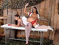 Two smoking lesbian nurses spanking each others round asses