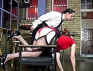 Paddled on her soft white cheeks bent over the chair - burning buttocks in pain