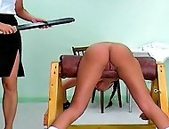 Tanned girl with tight ass gets paddled